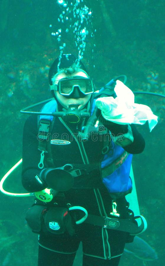 för monterey för dykare för akvariumfjärdcleaning behållare scuba fotografering för bildbyråer
