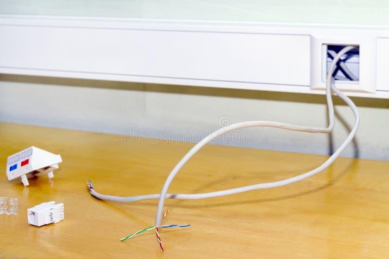 för monteringsnätverk för 45 internet stickkontakt för rj arkivbild