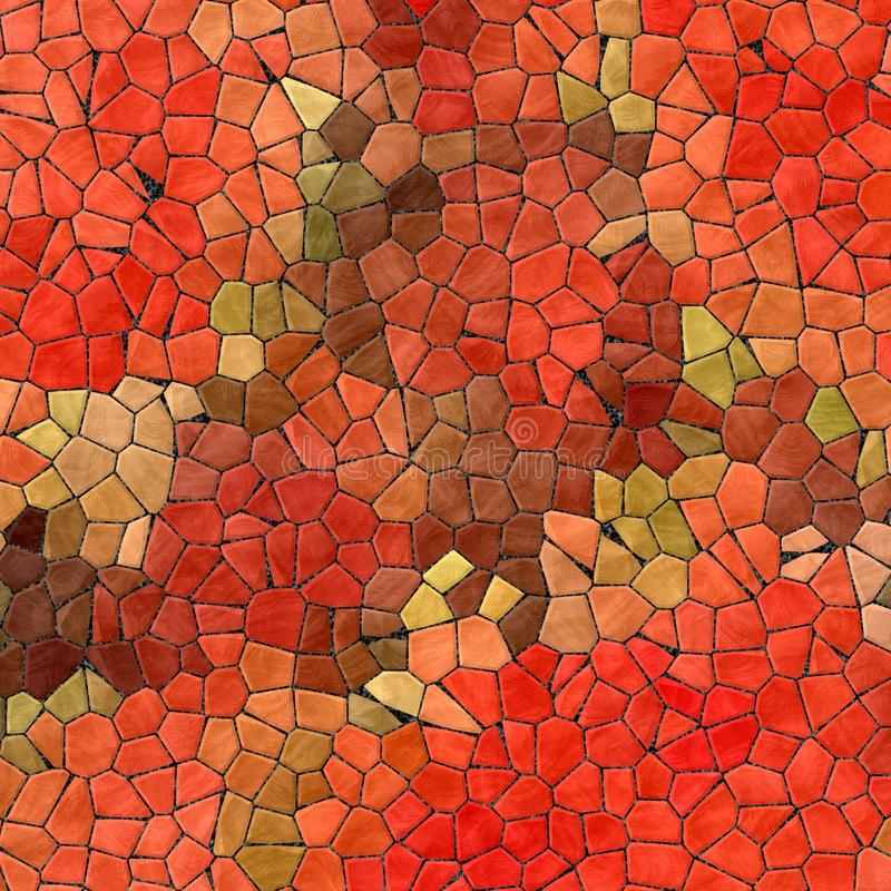 För mosaiktegelplattor för abstrakt marmor plast- stenig bakgrund för textur med svart grout - röd brunt för apelsingräsplankakie royaltyfri illustrationer