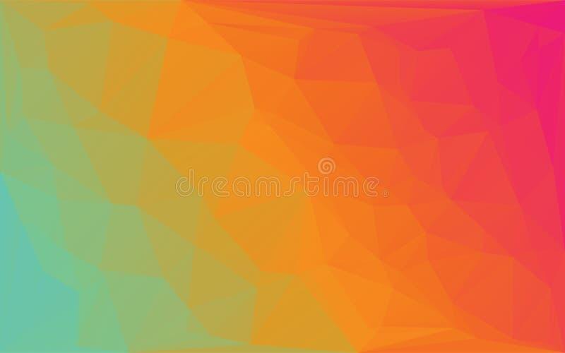 För mosaikvektor för polygon abstrakt bakgrund för runda för apelsin för guling royaltyfri illustrationer