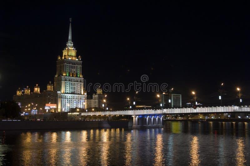 för moscow för 2 hotell ukraine natt sikt arkivfoto