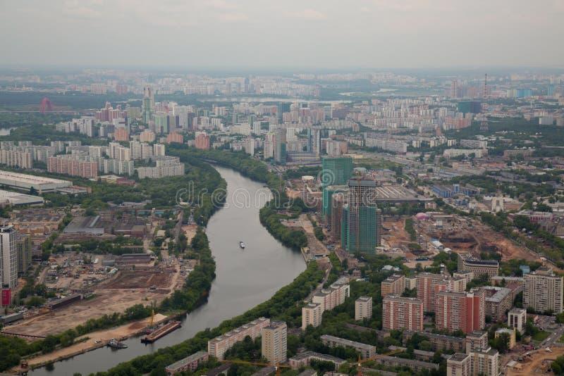 För Moskva för sikt för hög vinkel Moskva Ryssland flod royaltyfri bild