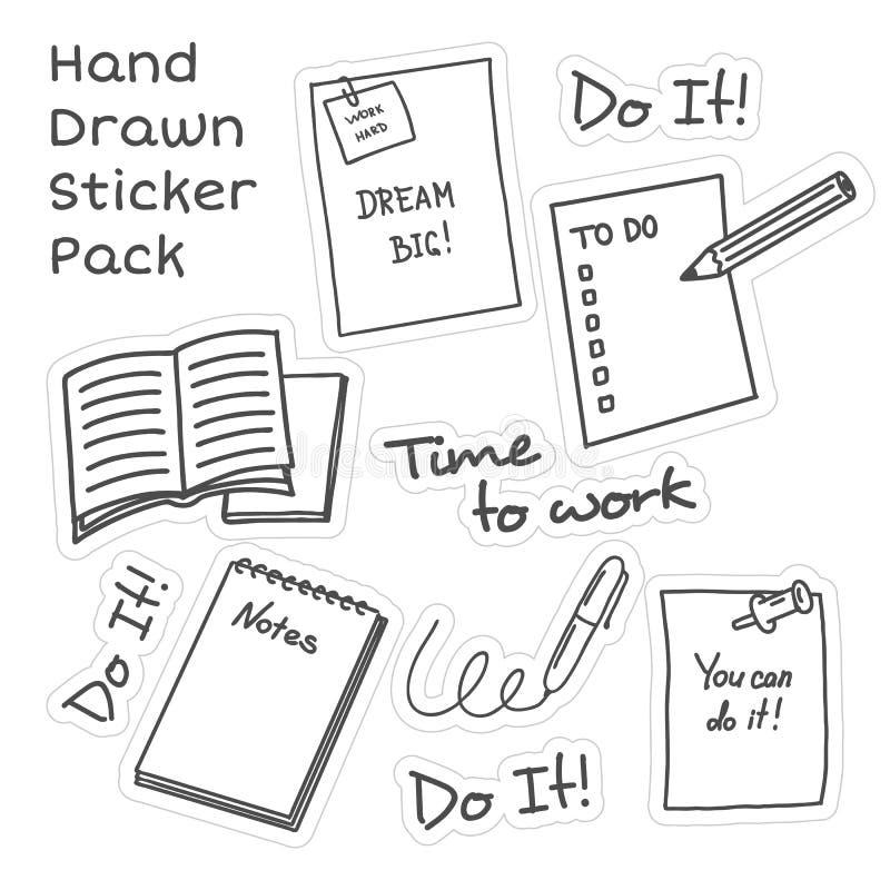 För motivationklistermärke för hand utdragen packe på vit bakgrund stock illustrationer