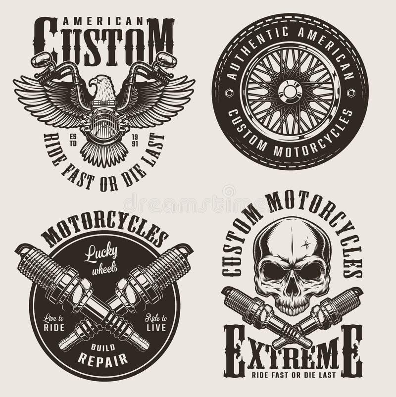 För motorcykelemblem för tappning beställnings- uppsättning vektor illustrationer