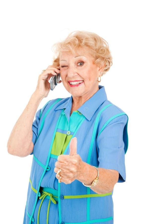 för mottagandepensionär för mobiltelefon god användare royaltyfri foto