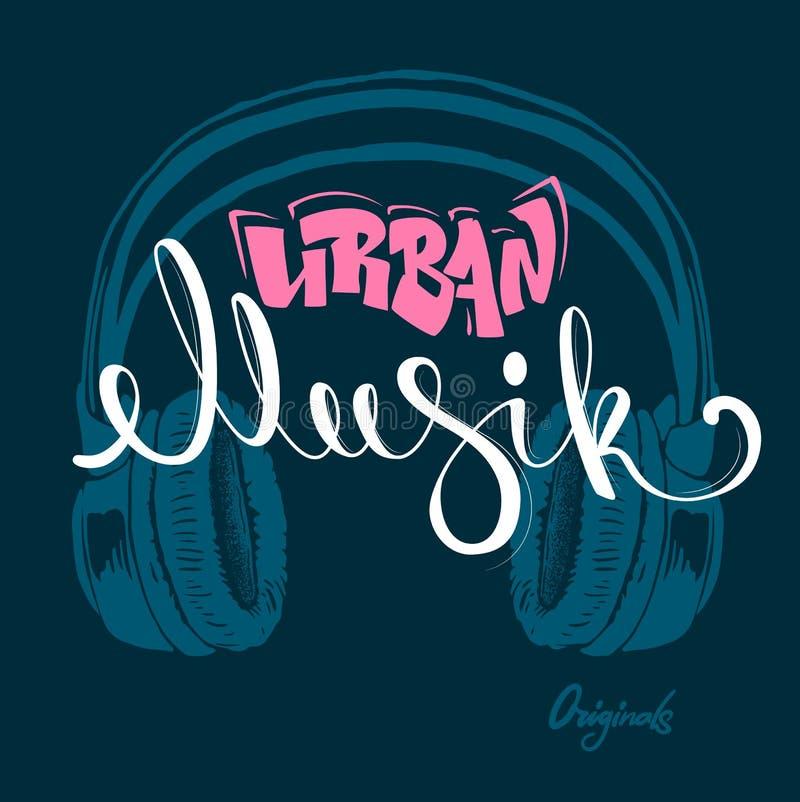 För musikhand för Headphone stads- teckning, grungevektorillustration stock illustrationer