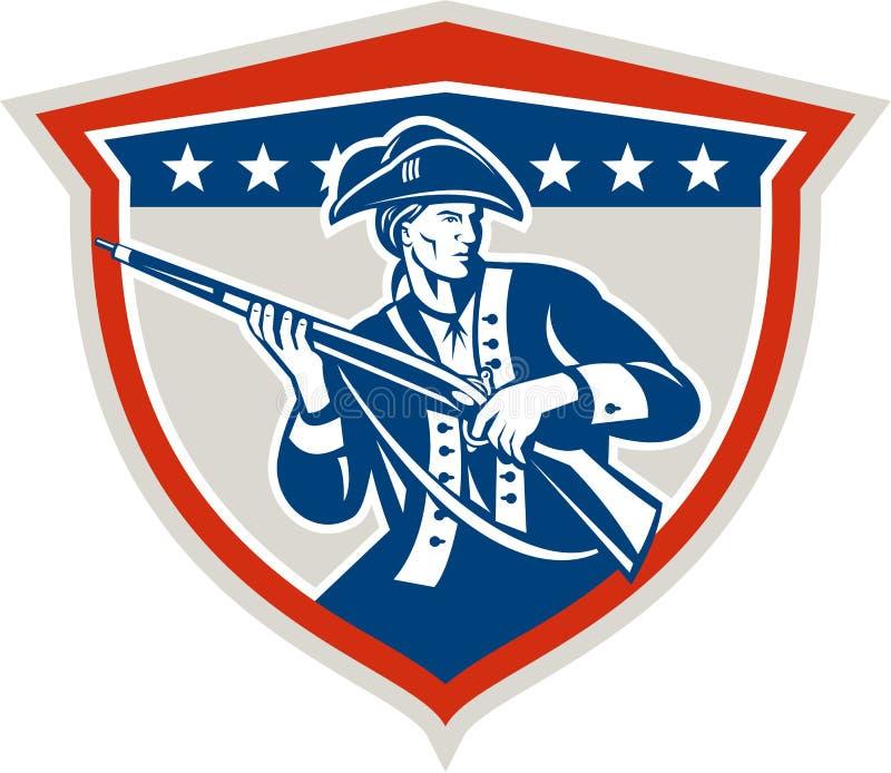 För muskötgevär för amerikansk patriot Retro hållande sköld royaltyfri illustrationer