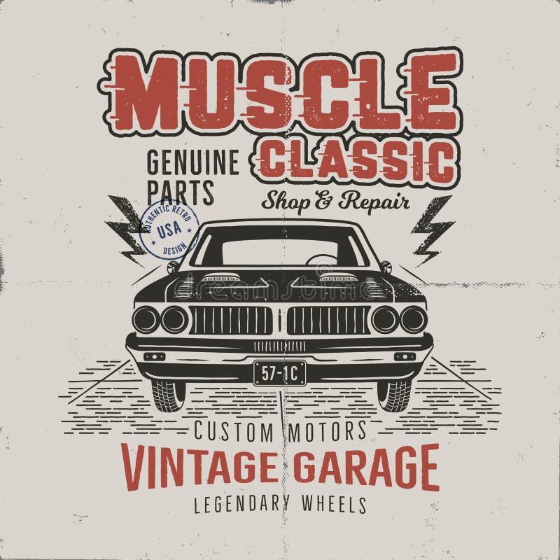 För muskelbil t för tappning hand dragen design för skjorta Klassisk bilaffisch med typografi Retro stilaffisch med grunge stock illustrationer