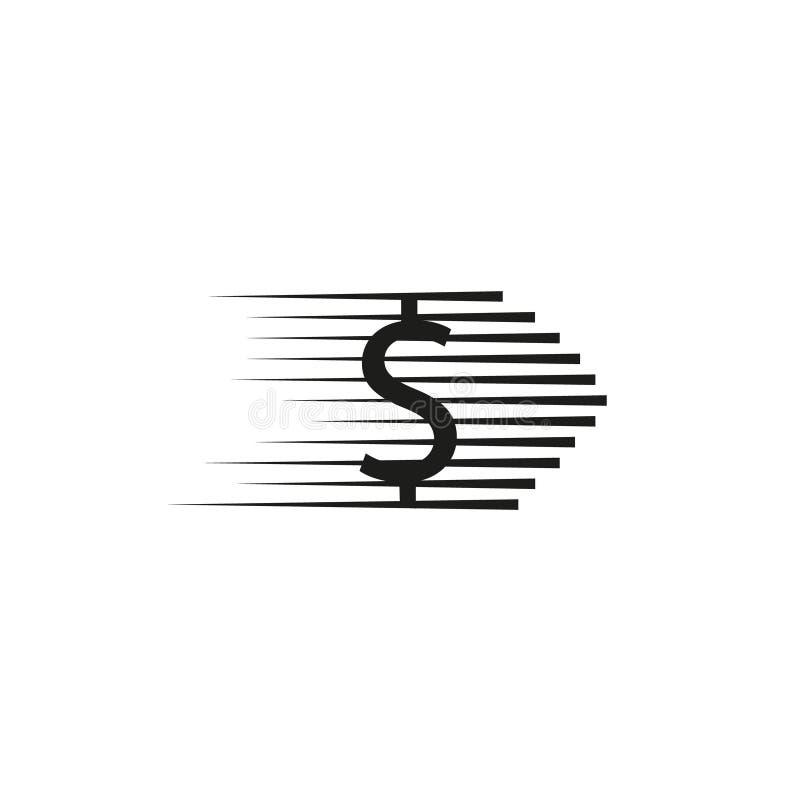 För myntlogo för vektor snabb kombination Hastighetspengarsymbol eller symbol Unik kassa och digital logotypdesignmall stock illustrationer
