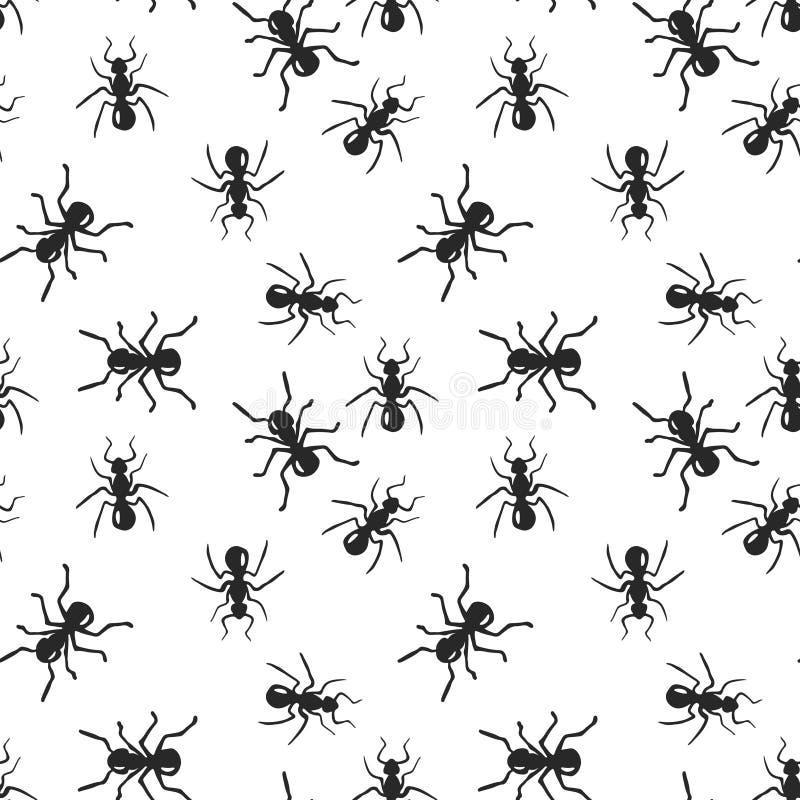 För myrakoloni för vektor sömlös modell för kryp stock illustrationer