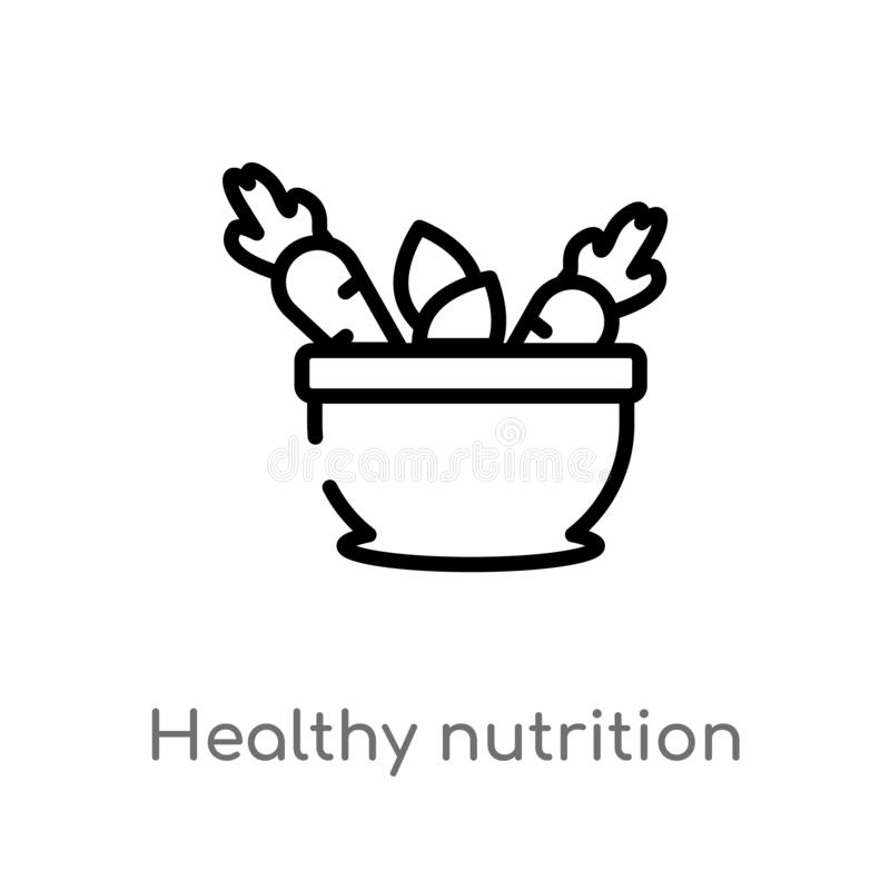 för näringvektor för översikt sund symbol isolerad svart enkel linje beståndsdelillustration från matbegrepp Redigerbar vektorsla stock illustrationer