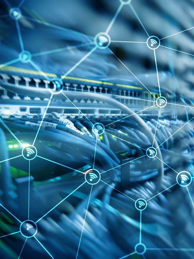 För nätverksabstrakt begrepp för Wi fi struktur på modern serverrumbakgrund royaltyfri illustrationer