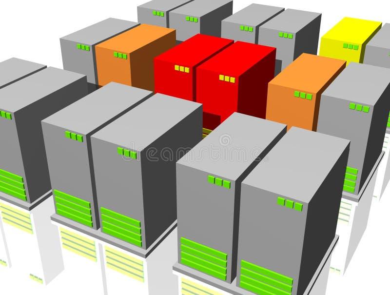 för nätverkssäkerhet för brytning infekterad virus för server royaltyfri illustrationer