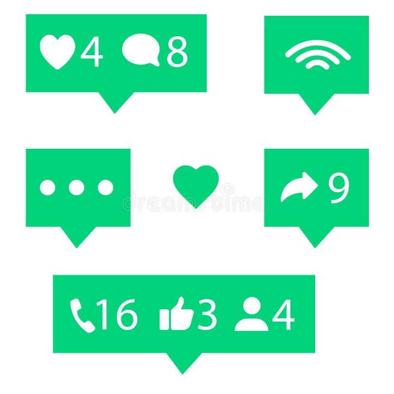 För nätverksvärdering för plan design sociala symboler: tummar upp symbol, hjärtasymbol, repost och den nya anhängaren ställde in royaltyfri illustrationer