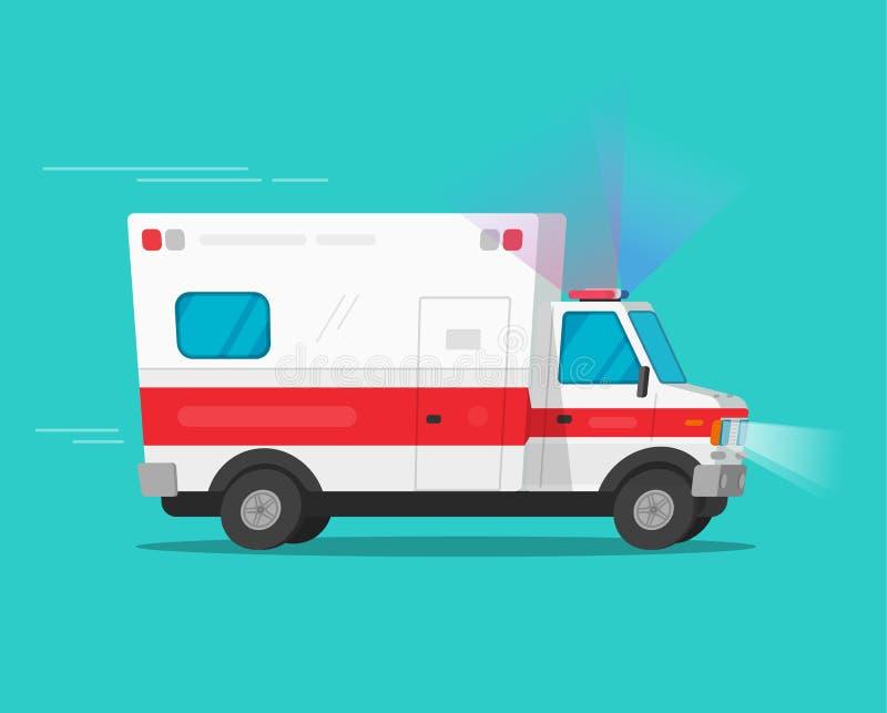 För nöd- illustration för vektor bilflyttning för ambulans snabb, komisk medicinsk medelautomatisk för plan tecknad film med blin stock illustrationer