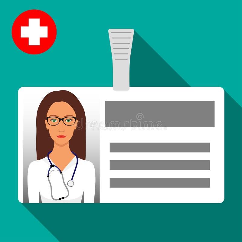 För namnetikett för doktor s emblem Plast- horisontalemblem med omfamningen Symbol för känt kort för medicinsk arbetare s med sku vektor illustrationer