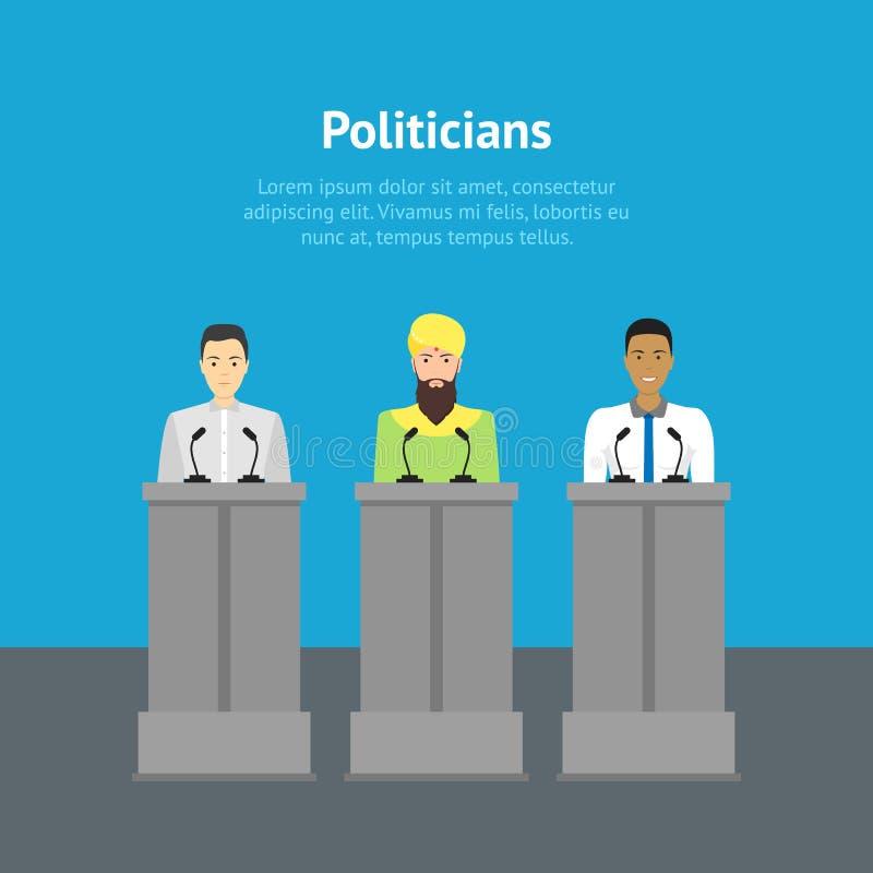 För nationalitetpolitiker för tecknad film olik affisch för kort vektor royaltyfri illustrationer