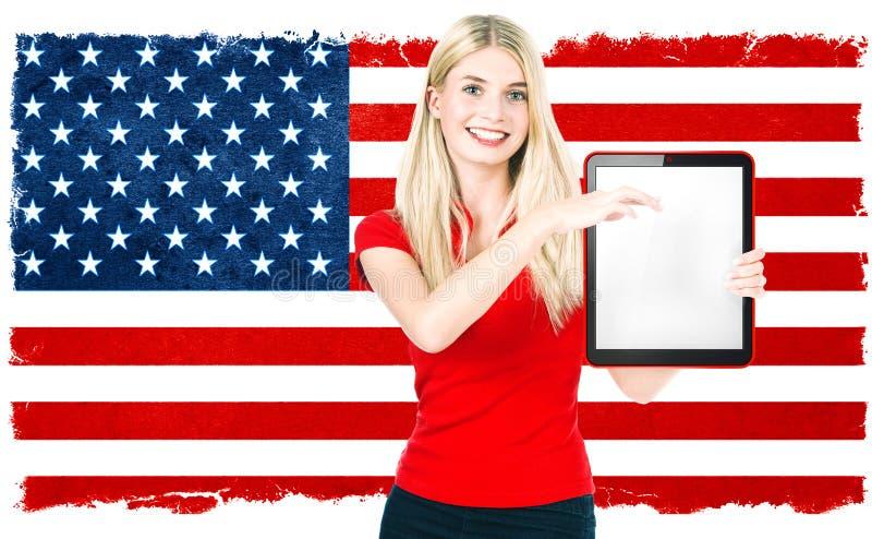 För nationsflaggaUSA för ung kvinna amerikanska resultat för val arkivfoto