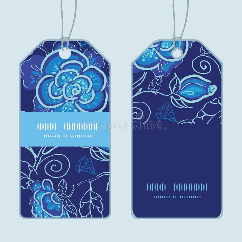 För nattblommor för vektor blå ram för vertikalt band stock illustrationer