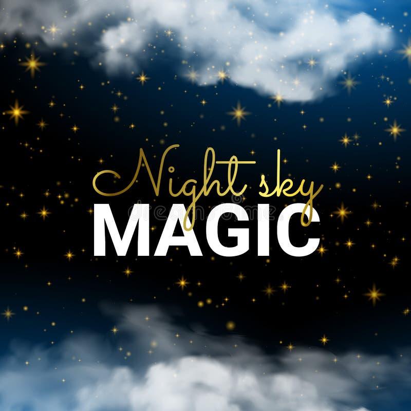 För natthimmel för oändlighet magisk bakgrund för blått för moln och glänsande stjärnor vektor illustrationer