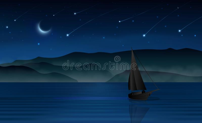 För natthimmel för meteorregn mörk segelbåt och vänkontur vektor illustrationer