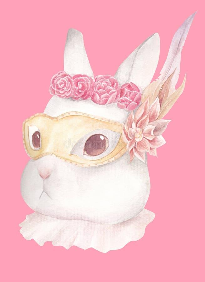 För nattinfall för kanin bärande maskering royaltyfria bilder