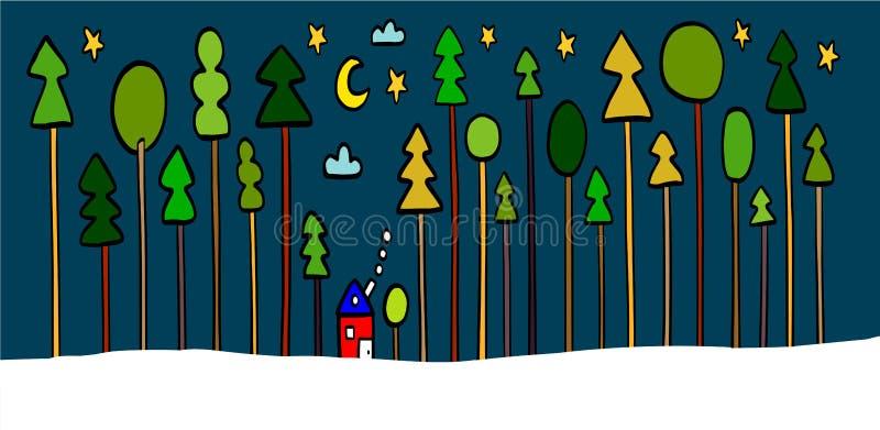 För nattlandskap för vinter hand dragit hus för illustration i skogen stock illustrationer