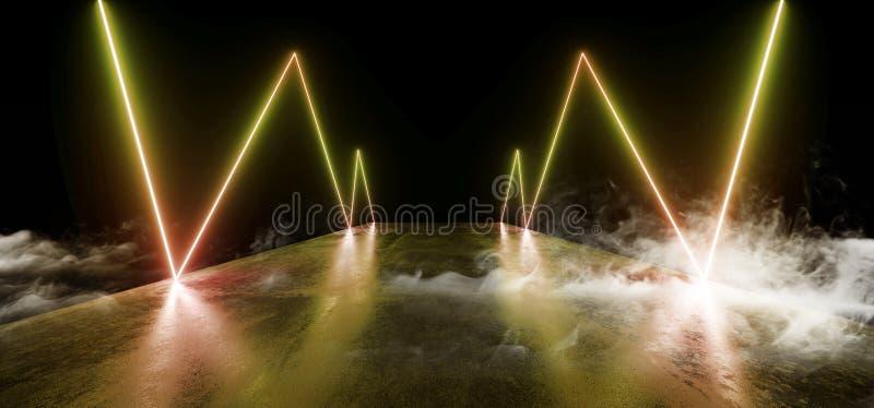 För nattneon för rök reflexion för golv för Grunge för framtida glöd för show vibrerande tom gul orange modern futuristisk underj royaltyfri illustrationer