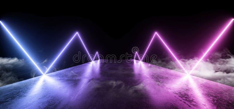För nattneon för rök reflexion för golv för Grunge för framtida för show vibrerande lilor för glöd tom blå modern futuristisk und royaltyfri illustrationer
