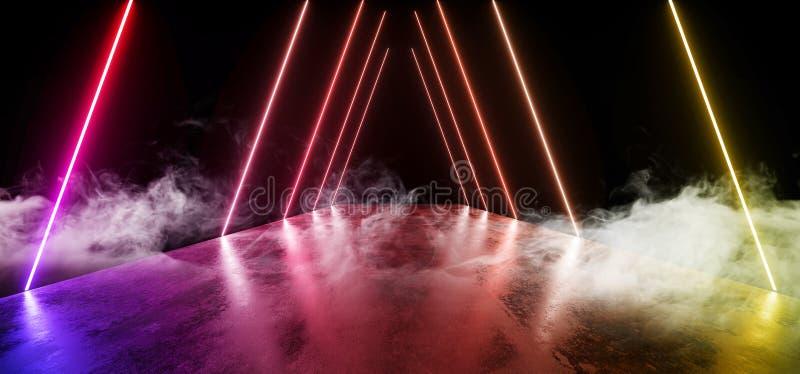 För nattneon för rök reflexionen för golvet för Grunge för den framtida för showen vibrerande regnbågen för glöd ställer ut den t vektor illustrationer
