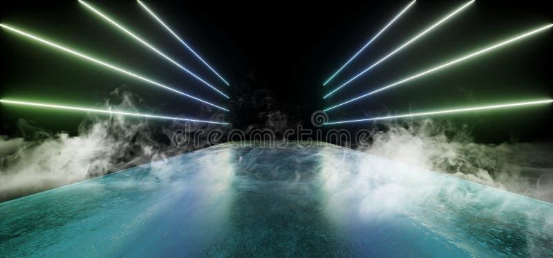 För nattneon för rök reflexionen för golvet för Grunge för framtida glöd för showen vibrerande ställer ut den tomma blåa gröna mo stock illustrationer