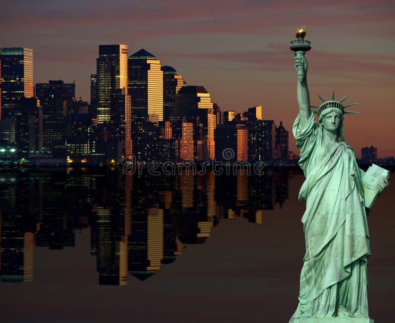 för nattnyc för cityscape ny horisont USA york arkivfoto