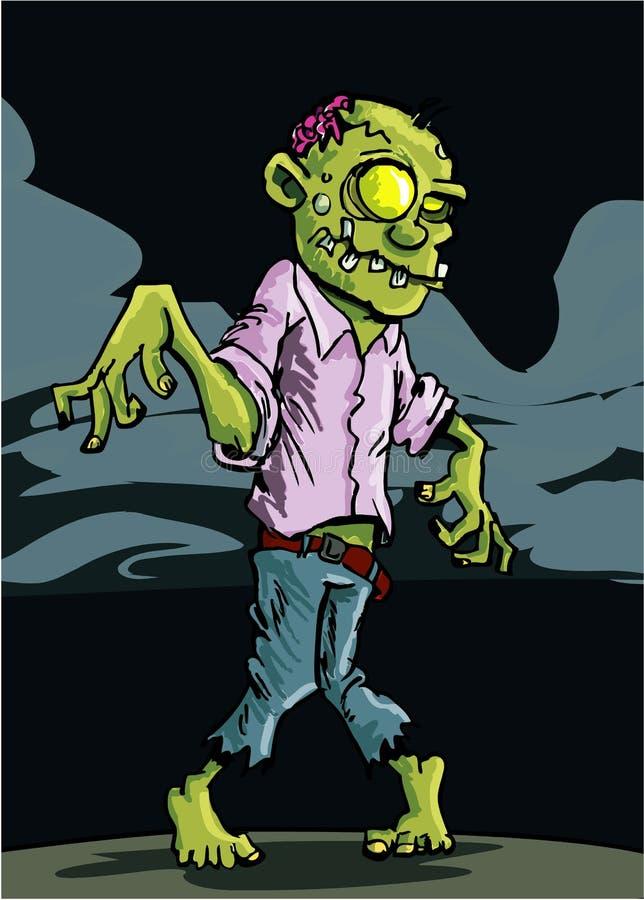 för nattsky för tecknad film molnig zombie vektor illustrationer