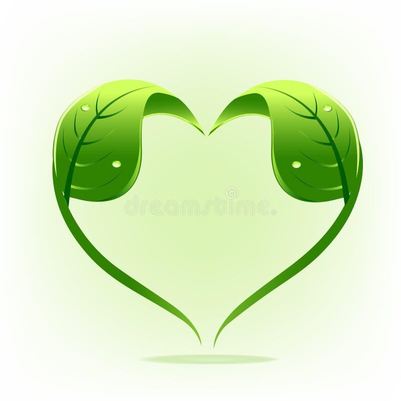 För naturblad för logo sund design för vektor för form för hjärta royaltyfri illustrationer