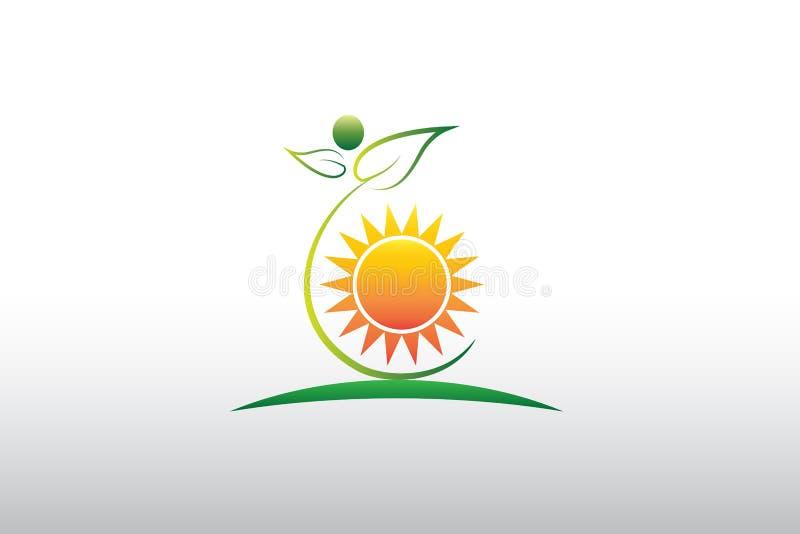 För naturgräsplan för logo sunda blad och sol vektor illustrationer