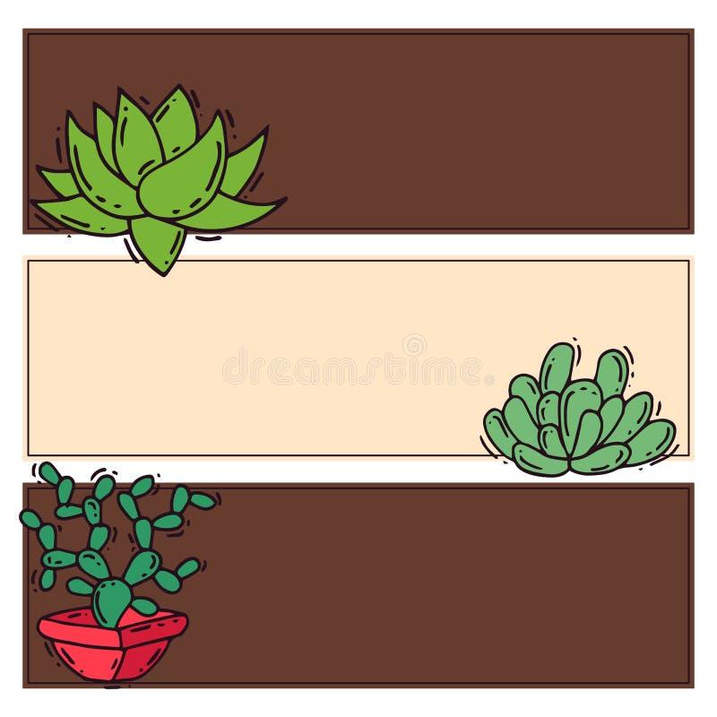 För naturkort för kaktus hem- illustration för vektor av det cactaceous trädet för grön växt med blomman royaltyfri illustrationer