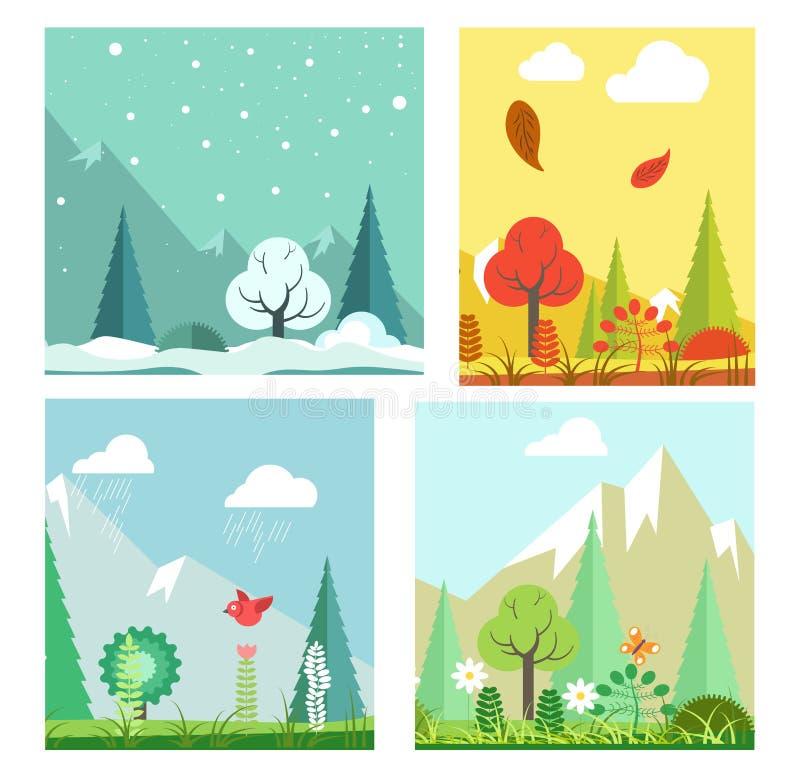 För naturlandskap för fyra säsonger vinter, sommar, höst, landskap för vårvektorlägenhet vektor illustrationer