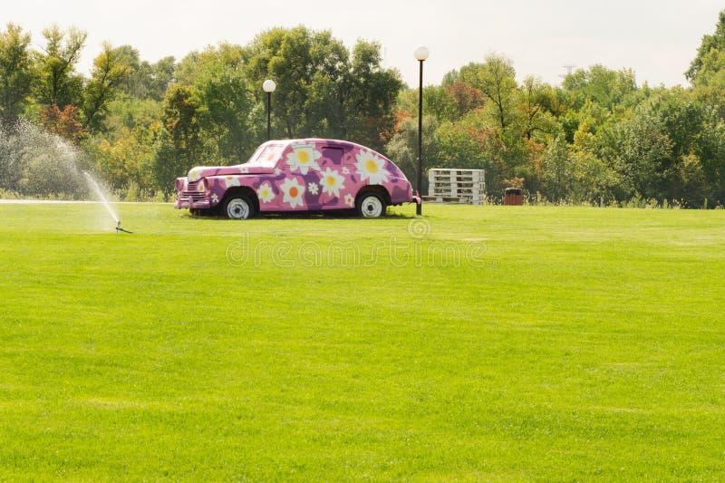För naturträd för förberedande sten bil för grönt gräs med blommor arkivfoto