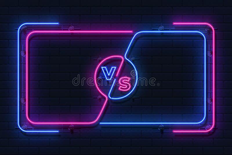 För neon baner kontra Glödande ram för modig strid, skärm för boxningmatch, begrepp för översikt för sportkonkurrens Vektor kontr vektor illustrationer