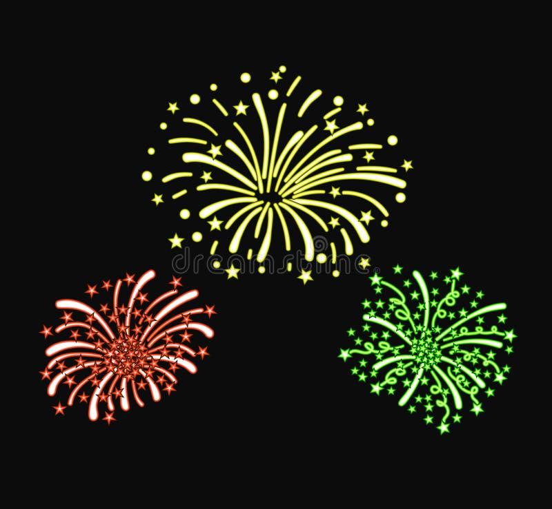 För neonklotter för vektor som färgrika fyrverkerier isoleras på svart bakgrund, ljusa röda, gula och gröna färger, designbestånd royaltyfri illustrationer