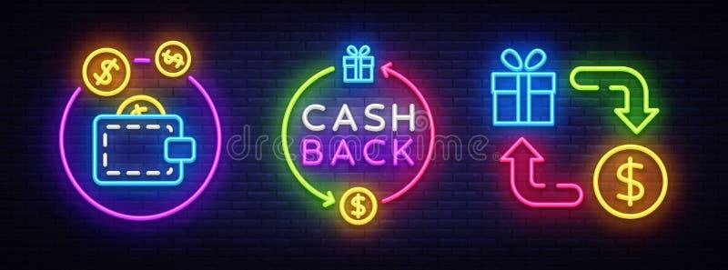 För neonsymboler för kassa tillbaka vektor för samling Tillbaka neontecken för kassa, designmall, modern trenddesign, kasinoneont royaltyfri illustrationer