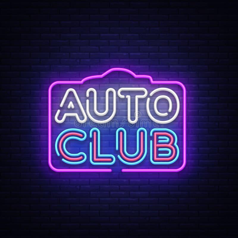 För neontecken för auto klubba vektor Tecken för neon för mall för bilservicedesign, ljust baner, neonskylt, nightly som är ljus vektor illustrationer