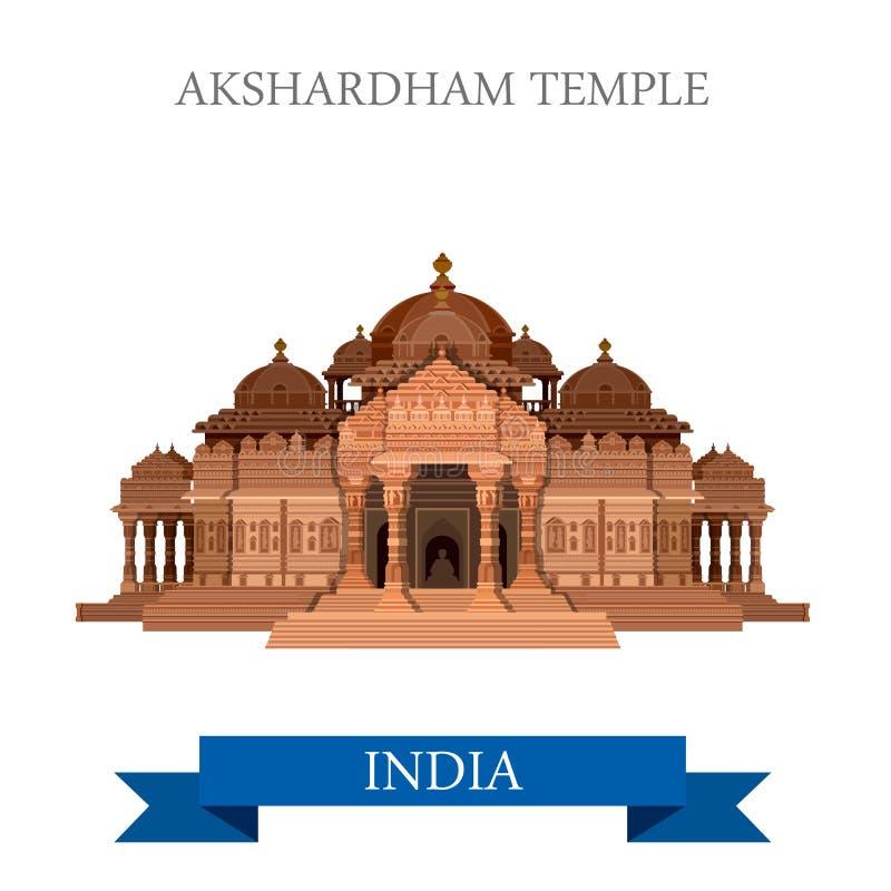 För New Dehli Indien Akshardham för hinduisk tempel dragning för lägenhet vektor stock illustrationer