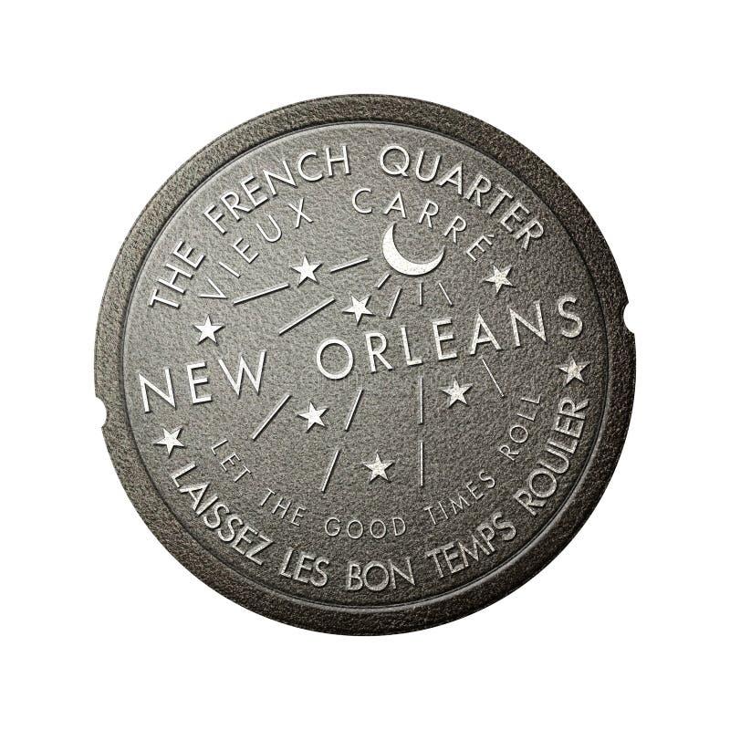För New Orleans Louisiana för fransk fjärdedel räkning för avloppsnät för meter vatten stock illustrationer
