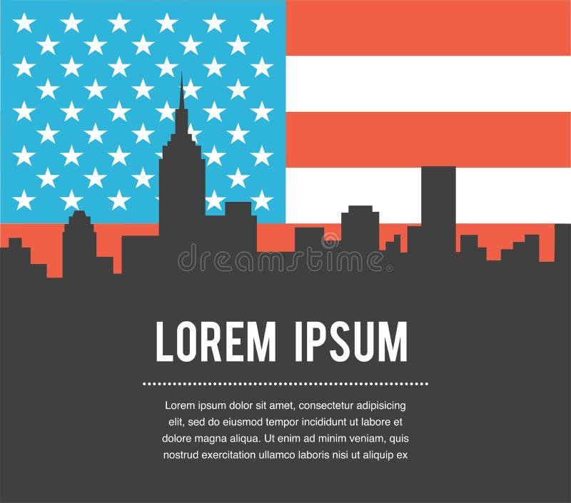 För New York City för USA färgflagga horisont vektor vektor illustrationer