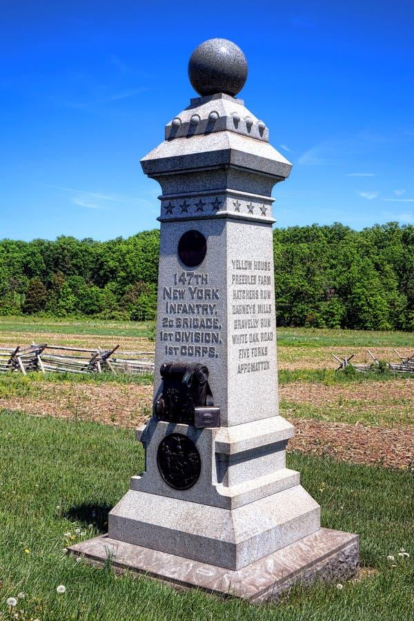 För New York för Gettysburg nationalpark 147. minnesmärke infanteri arkivbild
