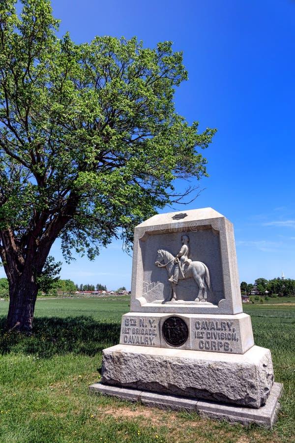 För New York för Gettysburg nationalpark 8th minnesmärke kavalleri royaltyfria bilder