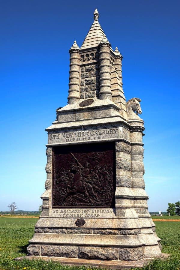För New York för Gettysburg nationalpark 6th minnesmärke kavalleri arkivfoto