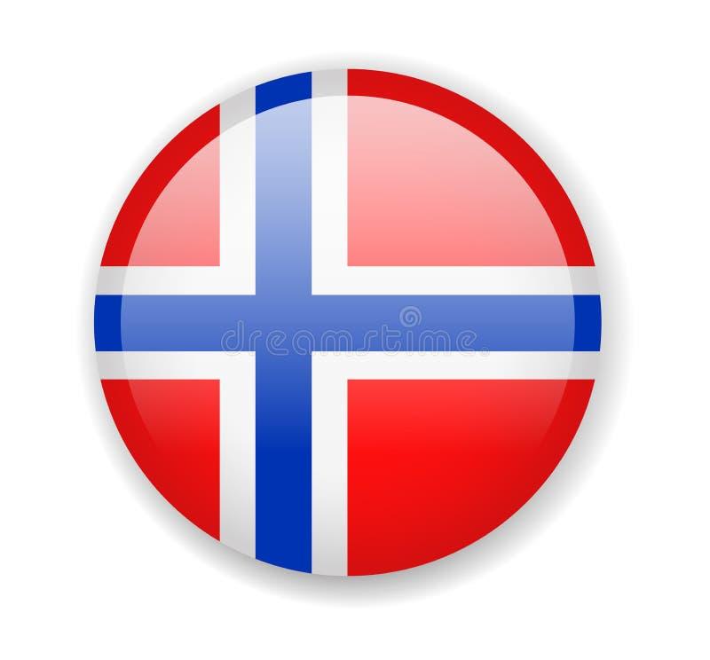 för norway för tillgänglig flagga glass vektor stil Rund ljus symbol på en vit bakgrund royaltyfri illustrationer
