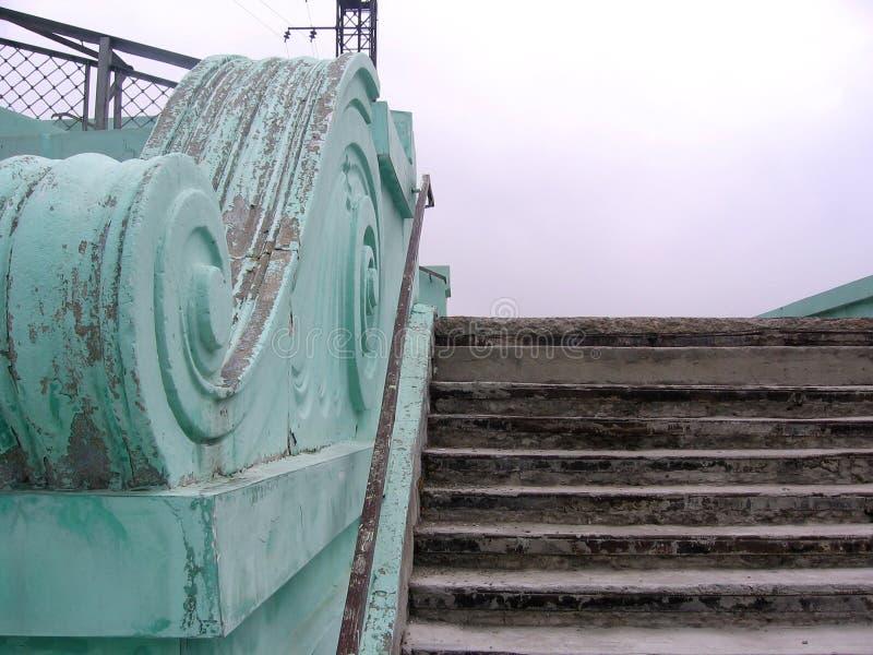 För Novosibirsk för tappningräckebeståndsdel trappa station fotografering för bildbyråer